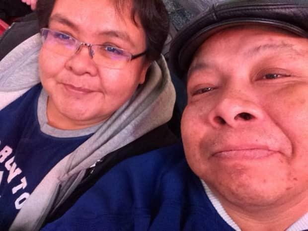 Waskaganish resident Brian Esau, right, pictured with his wife Florence Visitor, became a dialysis outpatient at the McGill University Health Centre in 2019. (submitted by Brian Esau - image credit)