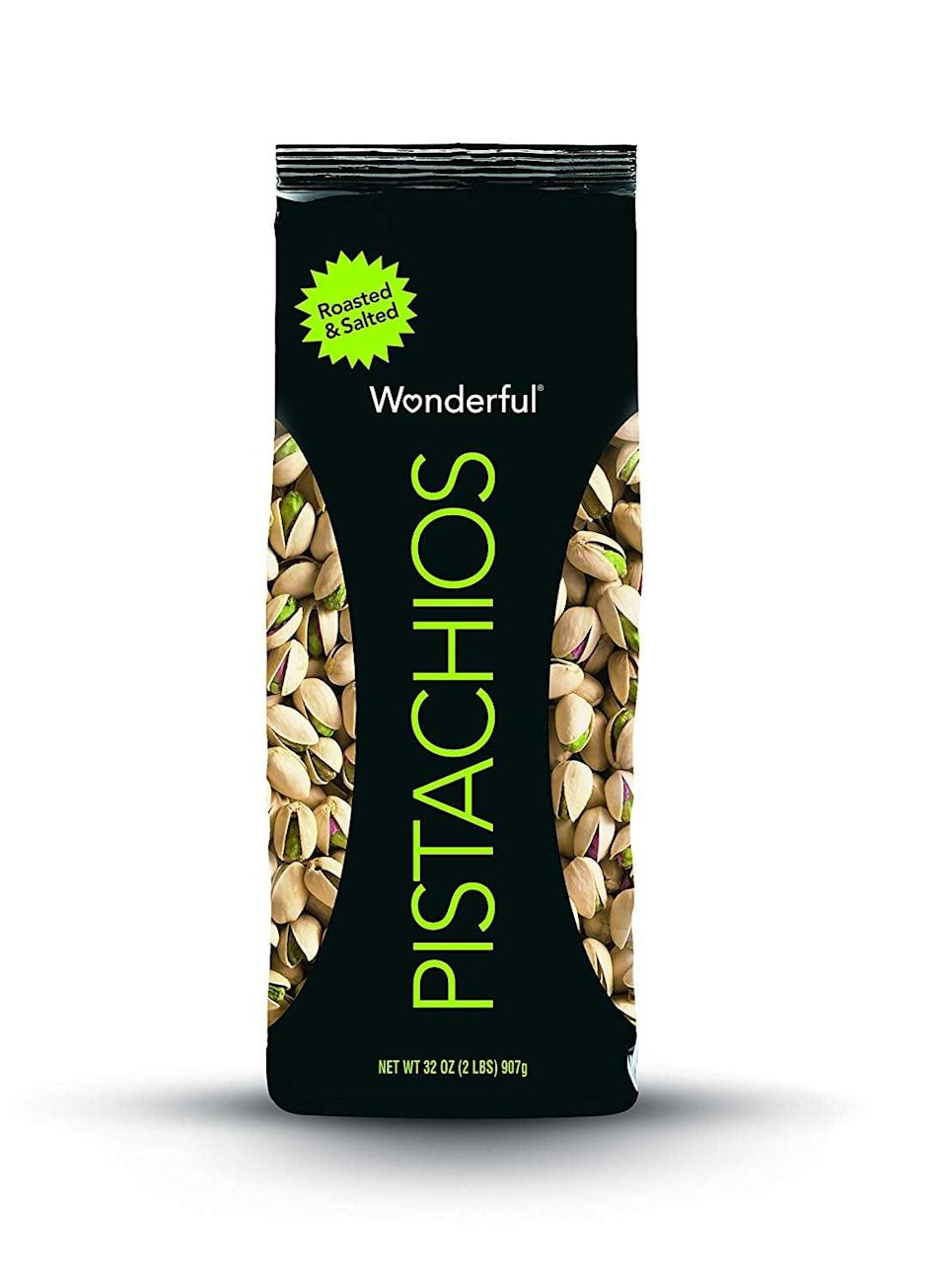 <p>You can't go wrong with these yummy <span>Wonderful Pistachios, Roasted and Salted</span> ($13).</p>