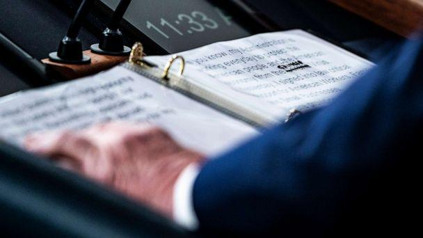 PHOTO: A close up of President Donald Trump's notes shows where the word corona in 'Corona Virus' was crossed out and replaced with 'Chinese' during a briefing at the White House on March 19, 2020, in Washington. (Washington Post via Getty Images, FILE)