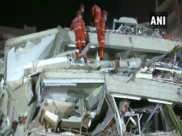 A search and rescue operation underway in Izmir city in Turkey.