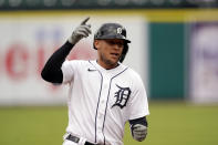 Detroit Tigers' JaCoby Jones rounds the bases after a solo home run during the fifth inning of a baseball game against the Pittsburgh Pirates, Thursday, April 22, 2021, in Detroit. (AP Photo/Carlos Osorio)