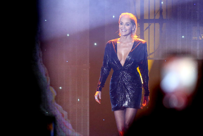BERLIN, GERMANY - NOVEMBER 07: US actress and award winner Sharon Stone is seen on stage during the GQ Men of the Year Award show at Komische Oper on November 7, 2019 in Berlin, Germany. (Photo by Isa Foltin/Getty Images for GQ Germany)