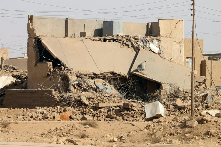 A damaged building in Rawa on November 18, 2017, after Iraqi forces retook the Euphrates valley town from Islamic State group jihadists