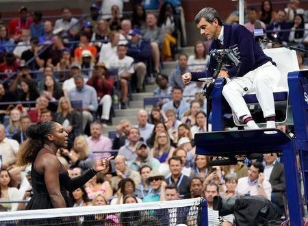 FILE PHOTO: Sept 8, 2018; New York, NY, USA; Serena Williams of the USA argues with chair umpire Carlos Ramos while playing Naomi Osaka of Japan in the women's final on day thirteen of the 2018 U.S. Open tennis tournament at USTA Billie Jean King National Tennis Center. Mandatory Credit: Robert Deutsch-USA TODAY Sports