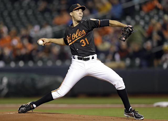 Baltimore Orioles starting pitcher Ubaldo Jimenez throws to the Kansas City Royals in the first inning of a baseball game, Friday, April 25, 2014, in Baltimore. (AP Photo/Patrick Semansky)