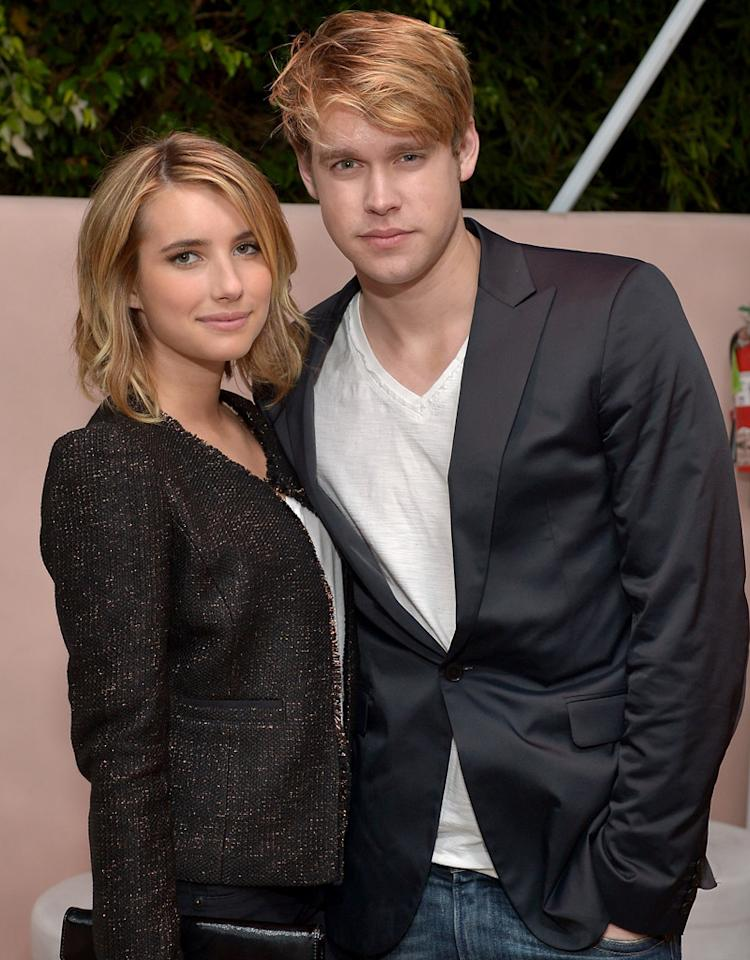 LOS ANGELES, CA - APRIL 12: Actors Emma Roberts (L) and Chord Overstreet attend the Conde Nast Traveler Hot List Party at the Hotel Bel-Air on April 12, 2012 in Los Angeles, California. (Photo by Charley Gallay/WireImage)