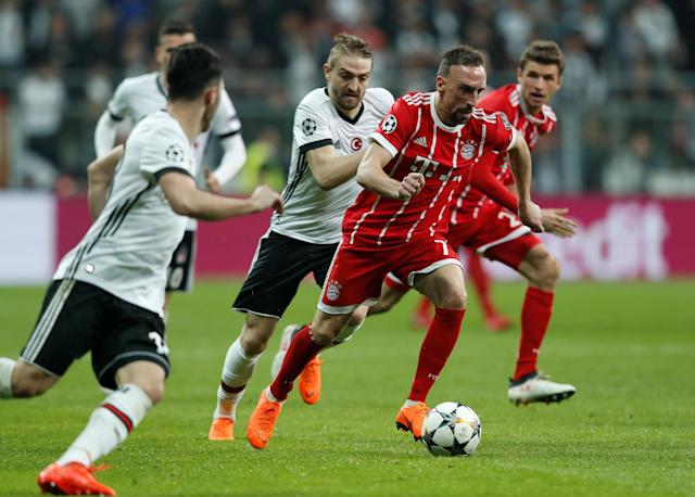 Soccer Football - Champions League Round of 16 Second Leg - Besiktas vs Bayern Munich - Vodafone Arena, Istanbul, Turkey - March 14, 2018 BBayern Munich's Franck Ribery in action with Besiktas' Caner Erkin REUTERS/Murad Sezer
