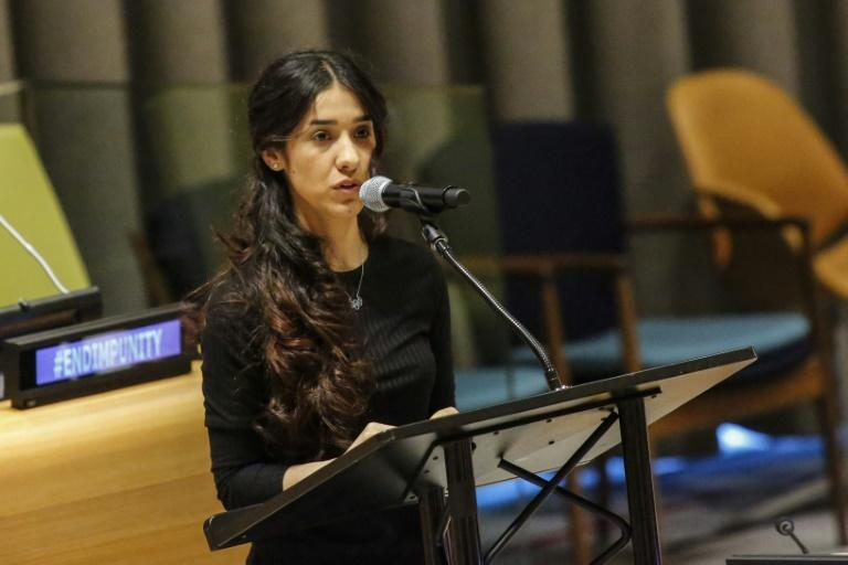 Yazidi human rights activist Nadia Murad speaks as she attends 'The Fight against Impunity for Atrocities: Bringing Da'esh to Justice'  at the United Nations Headaquarters on March 9, 2017 in New York