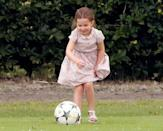 <p>Charlotte showed her football skills during the day out, too.</p>