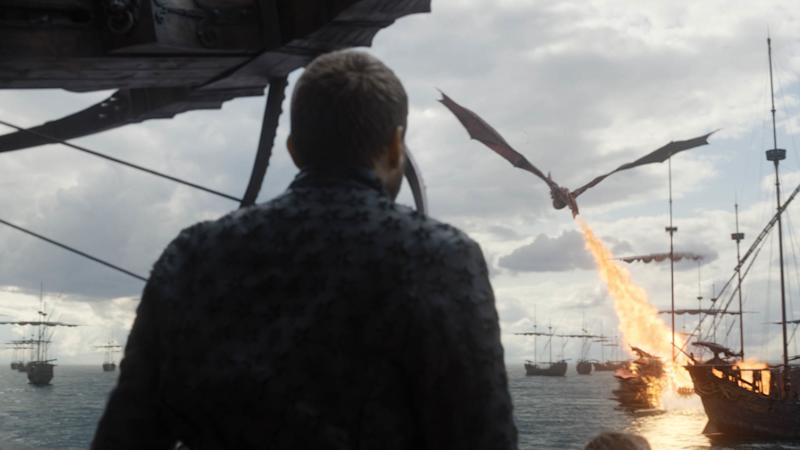 Drogon destroys the Iron Fleet in 'Game of Thrones' (Photo: Courtesy of HBO)