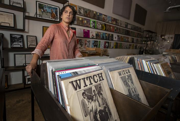 "Egon Alapatt, co-founder of Rappcats record store: ""I'm lucky that my landlord lives in my building. I'm not going anywhere."" <span class=""copyright"">(Brian van der Brug/Los Angeles Times)</span>"
