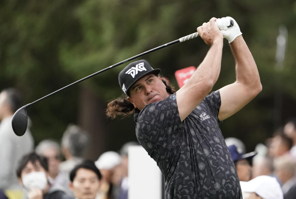Pat Perez of the United States watches his tee shot on the 8th hole during the first round of the Zozo Championship at the Accordia Golf Narashino country club near Tokyo in 2019.