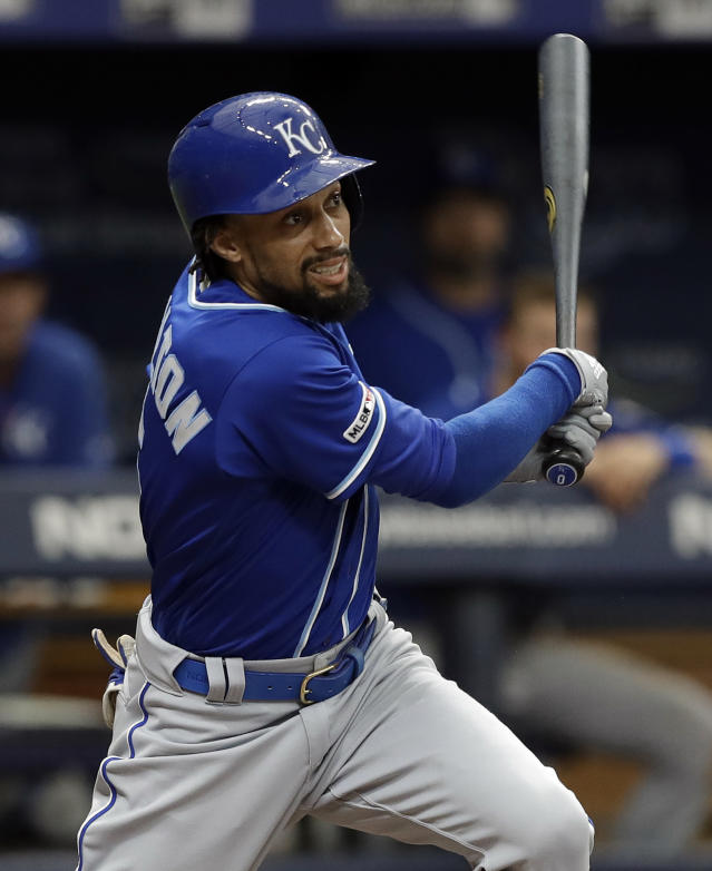Kansas City Royals' Billy Hamilton follows the flight of his RBI-double off Tampa Bay Rays relief pitcher Ryan Yarbrough during the fourth inning of a baseball game Wednesday, April 24, 2019, in St. Petersburg, Fla. Royals' Cam Gallagher scored. (AP Photo/Chris O'Meara)