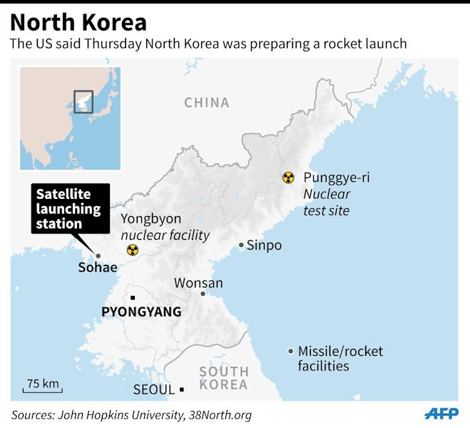 Map of North Korea> The US said on Thursday that North Korea appeared to be preparing a rocket launch (AFP Photo/Adrian LEUNG, John SAEKI)