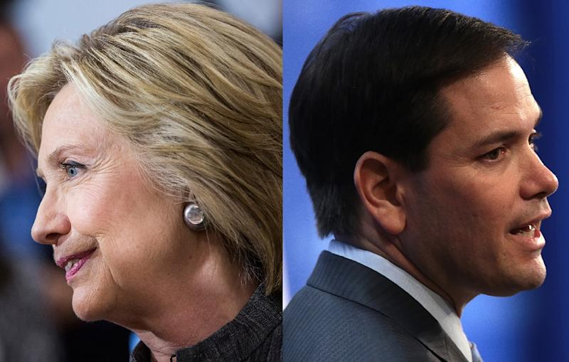 A combo picture of Hillary Clinton and Marco Rubio (AFP Photo/)