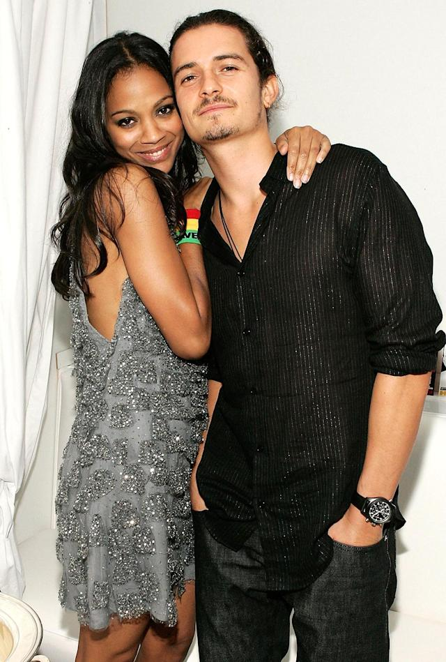 <p><em><em>On Sept. 12, 2006, Saldana and her co-star Orlando Bloom pose at the L.A. after-party for <em>Haven</em>. (Photo: Vince Bucci/Getty Images) </em></em></p>
