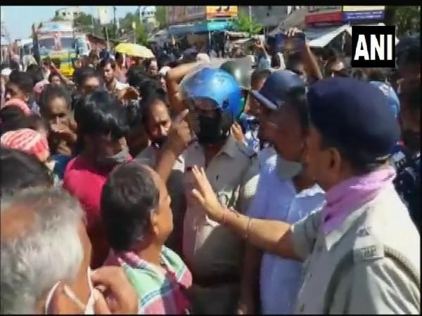 Visuals from the protest in Titagarh, West Bengal. (Photo/ANI)