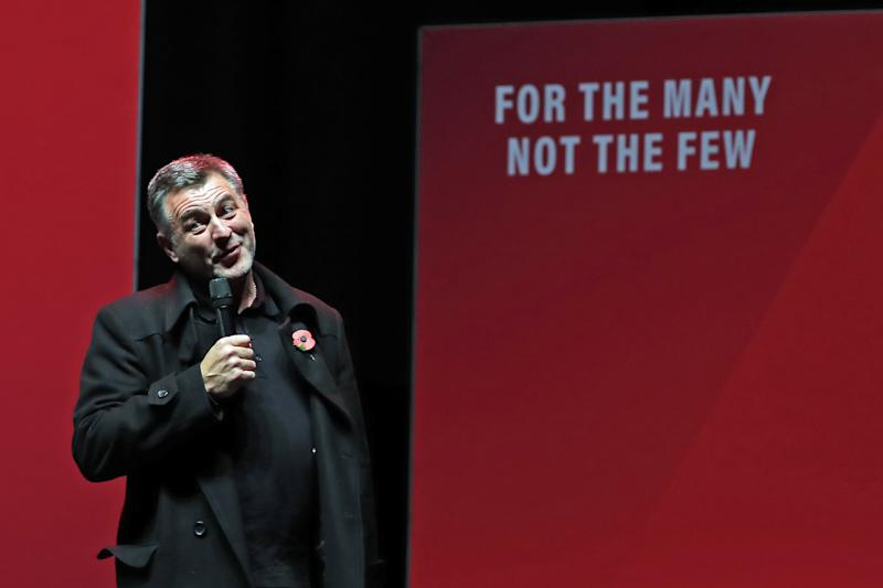 Ian Byrne, Labour candidate for West Derby, addresses a Labour rally at the o2 Academy in Manchester.