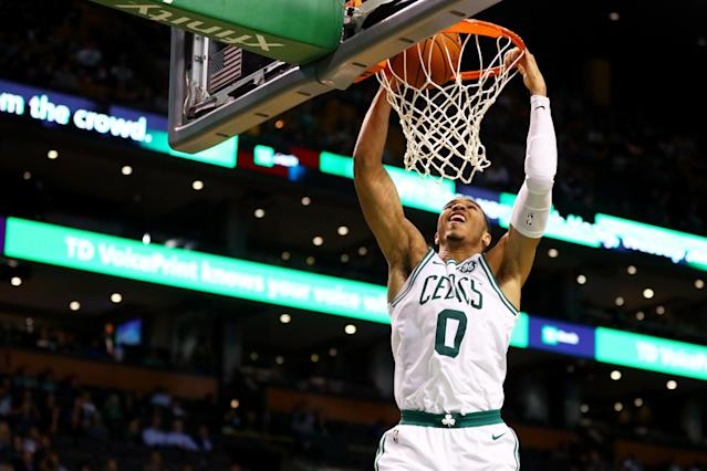"<a class=""link rapid-noclick-resp"" href=""/ncaab/players/136029/"" data-ylk=""slk:Jayson Tatum"">Jayson Tatum</a> showed the Wizards both power and finesse on Wednesday. (Getty Images)"