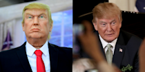 <p>This version is less a wax figure and more a discount Halloween mask Scotch-taped to a headless mannequin. But god bless whoever thought Donald Trump's eyes were a beautiful shade of light turquoise. </p>
