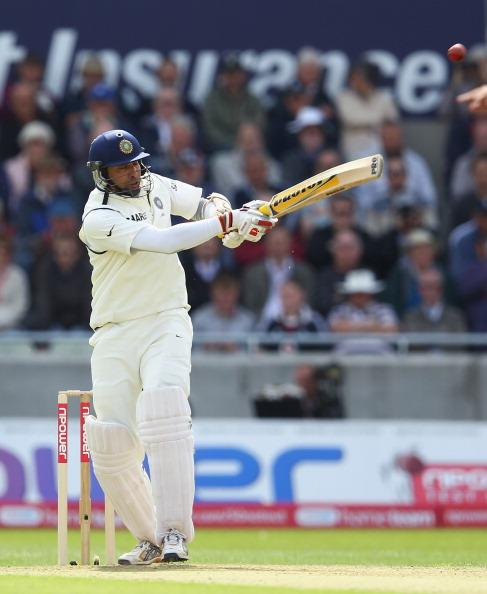 BIRMINGHAM, ENGLAND - AUGUST 10:  VVS Laxman of India hooks the ball away and is caught out during day one of the 3rd npower Test at Edgbaston on August 10, 2011 in Birmingham, England.  (Photo by Richard Heathcote/Getty Images)