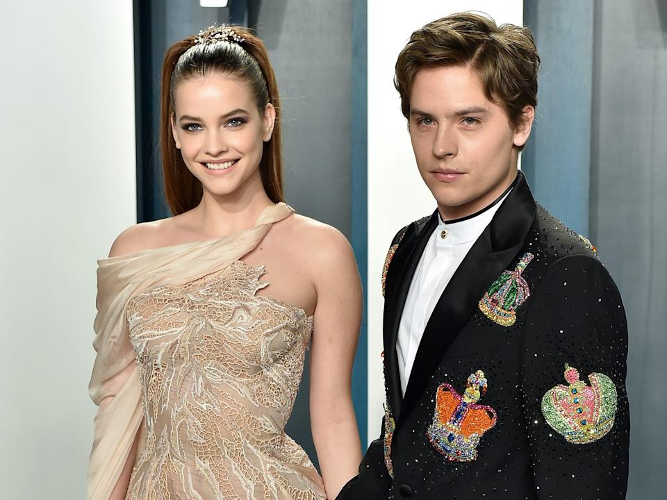 Barbara Palvin and Dylan Sprouse at the 2020 Vanity Fair Oscars after-party.