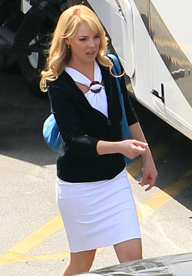 """After months of speculation, Katherine Heigl finally announced in <i>Entertainment Weekly</i> this week that she and """"Grey's Anatomy"""" have broken up for good, citing her desire to spend more time with her family as the reason. On Wednesday, the currently brunette star was back to blond again (thanks to a wig!) on the set of her new action comedy """"Killers."""" Ben Dome/Jeff Steinberg/<a href=""""http://www.pacificcoastnews.com/"""" target=""""new"""">PacificCoastNews.com</a> - March 24, 2010"""