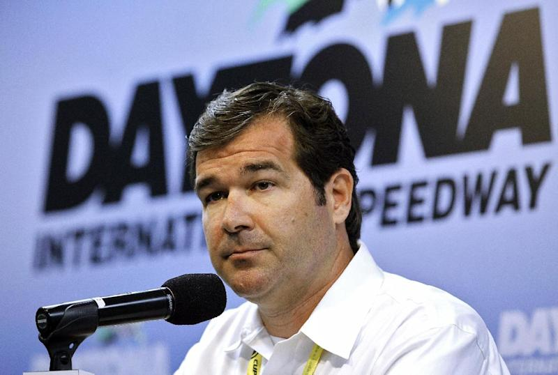 Daytona International Speedway president Joie Chitwood III speaks during a news conference before the start of the Daytona 500 NASCAR Sprint Cup Series auto race Sunday, Feb. 24, 2013, at Daytona International Speedway in Daytona Beach, Fla. Several spectators were injured when a car crashed into the catch fence during the Nationwide Series auto race on Saturday sending debris into the grandstand. (AP Photo/Terry Renna)