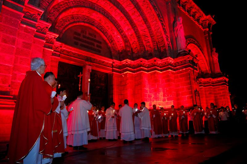 The Manila Cathedral in the Philippines lights up for #RedWednesday on Nov. 22.