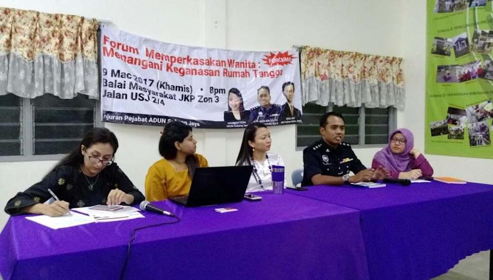 Jasni is seen here in a talk on empowering women to handle domestic violence that was organised by Hannah Yeoh's office in March 2017, when she was still the Subang Jaya assemblyman. ― Picture courtesy of Hannah Yeoh