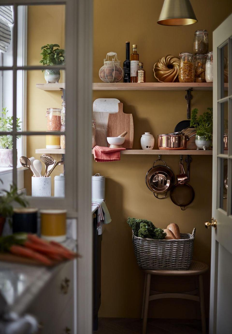 """<p>If you're lucky enough to have your own <a href=""""https://www.housebeautiful.com/uk/decorate/kitchen/g27318935/kitchen-larder-ideas/"""" rel=""""nofollow noopener"""" target=""""_blank"""" data-ylk=""""slk:pantry"""" class=""""link rapid-noclick-resp"""">pantry</a>, don't forget to give it a little love. As part of the Modern Country trend, experiment with chalky colours, practical storage solutions and pretty pots for utensils. </p><p><strong>READ MORE</strong>: <a href=""""https://www.housebeautiful.com/uk/decorate/kitchen/g27318935/kitchen-larder-ideas/"""" rel=""""nofollow noopener"""" target=""""_blank"""" data-ylk=""""slk:21 really stylish and practical pantry ideas for your kitchen"""" class=""""link rapid-noclick-resp"""">21 really stylish and practical pantry ideas for your kitchen</a></p>"""