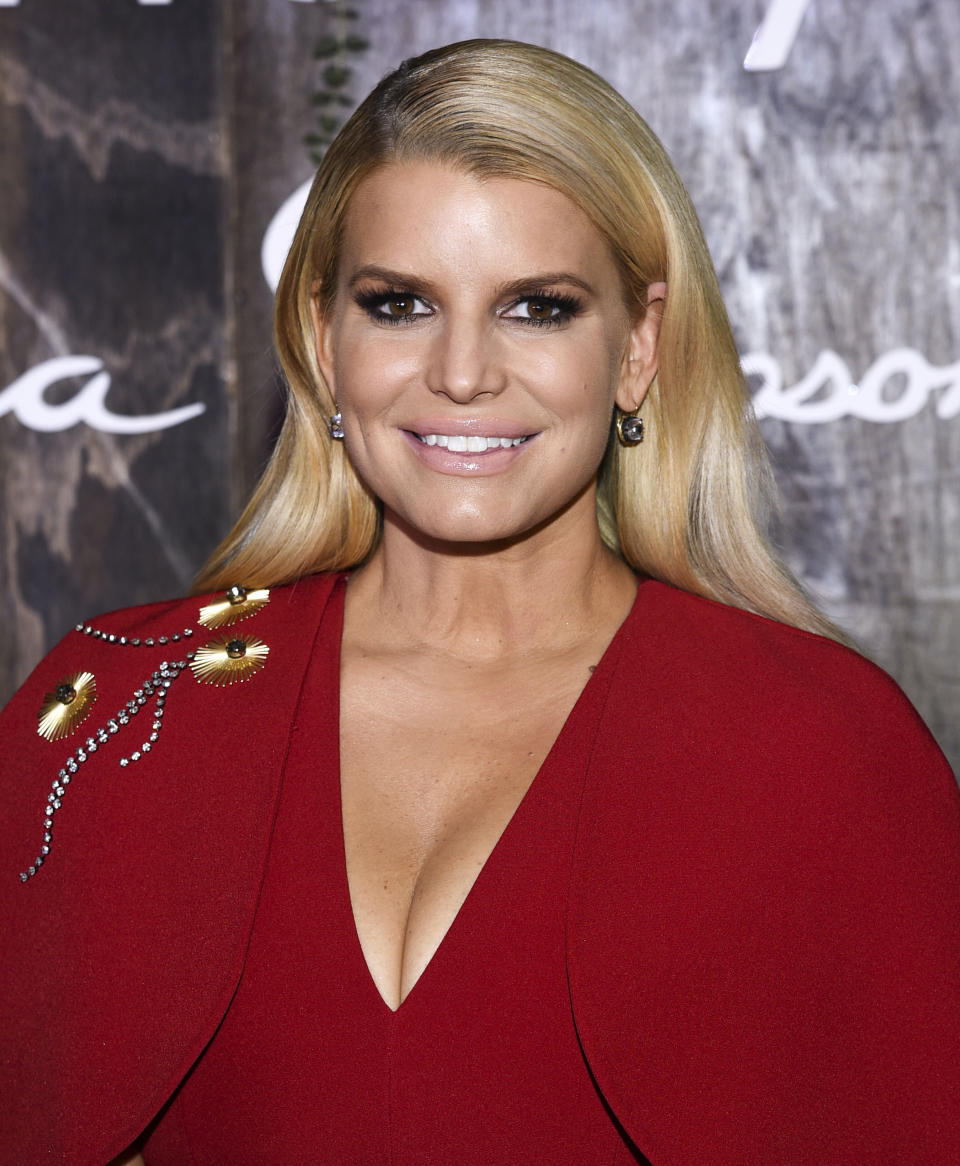"Singer, fashion designer and author Jessica Simpson appears at Stella 34 Trattoria in Macy's Herald Square to promote her new memoir ""Open Book"" on Wednesday, Feb. 5, 2020, in New York. (Photo by Evan Agostini/Invision/AP)"