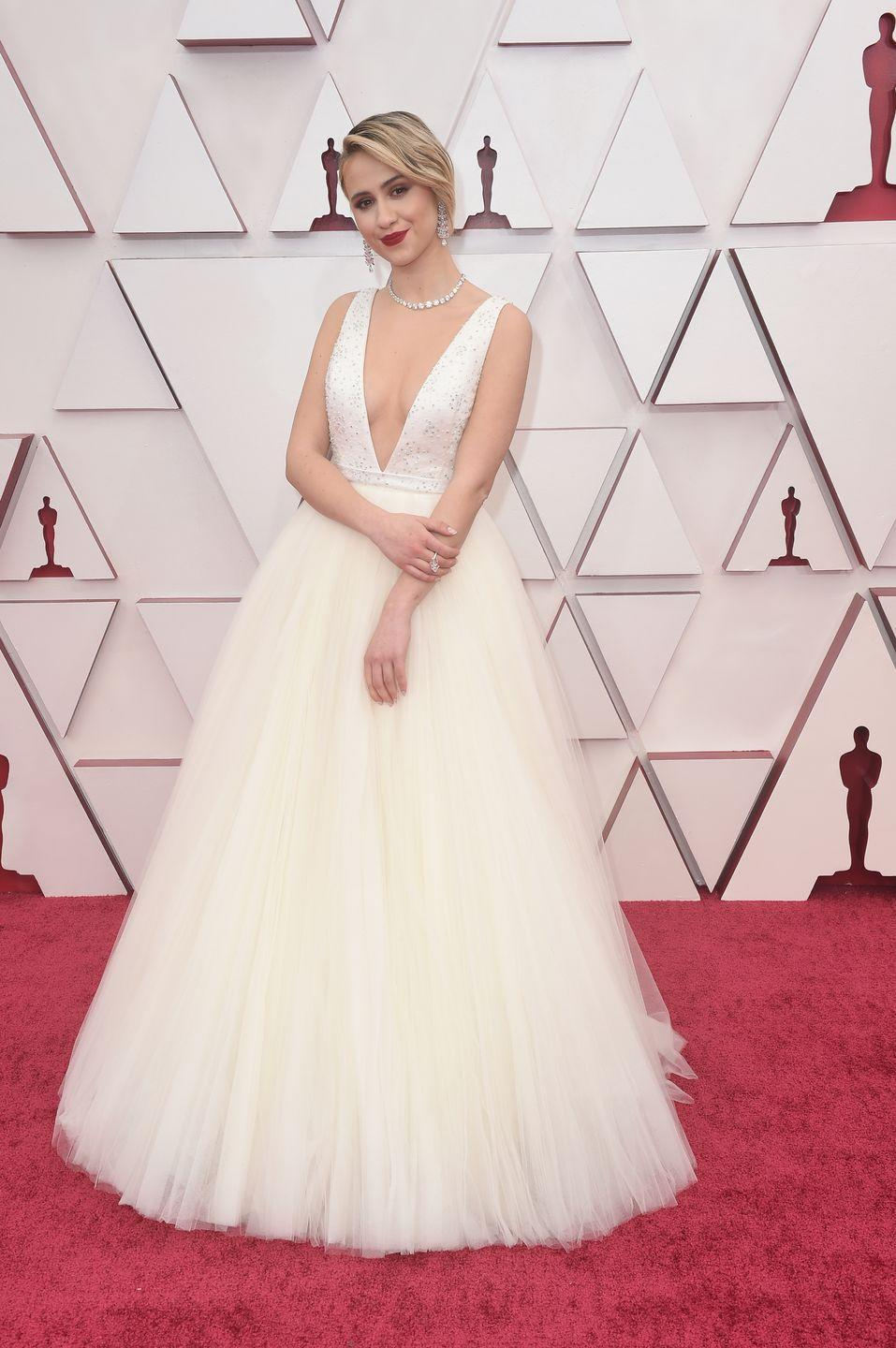 """<p>Bakalova's Louis Vuitton tulle and satin fairy-tale gown was given a shot of extra sparkle with a classic diamond necklace, pink and white diamond earrings and a ring set with a flawless eight carat diamond by Bond Street jeweller, Moussaieff. </p><p>""""When I walked into the store I was blown away by how beautiful and intricate the pieces of jewellery are. They sparkle and each piece is so unique,"""" Bakalova said of the gems. </p>"""