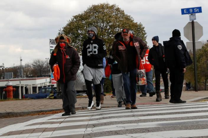 FILE PHOTO: NFL football fans wear protective face masks as the coronavirus disease (COVID-19) outbreak continues in Ohio