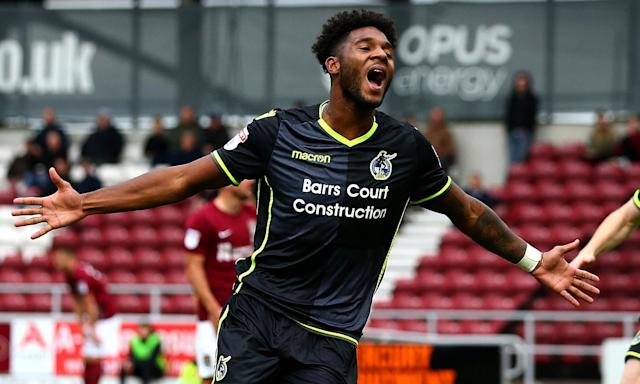 Ellis Harrison scored twice as Bristol Rovers beat Northampton 6-0 at Sixfields.