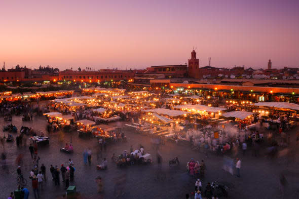 View across the famous square of Djemaa El Fna in Marrakech, Morocco.