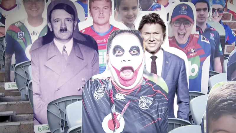 The image of Hitler, pictured here on a cardboard cut-out in the stands at an NRL game.