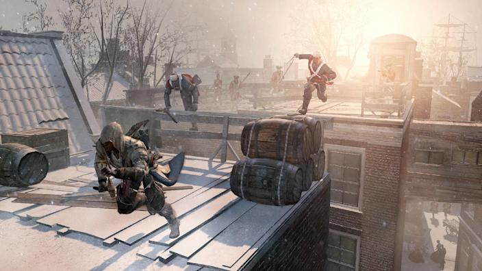 """FILE - This video game image released by Ubisoft shows an assassin fleeing across the rooftops of colonial New York in a scene from """"Assassin's Creed III."""" A pair of assassins, a horde of zombies and an intergalactic commander are facing off against a scarf-clad wanderer at the 2012 Spike Video Game Awards. """"Assassin's Creed III,"""" """"Dishonored,"""" """"The Walking Dead: The Game"""" and """"Mass Effect 3"""" are competing to become game of the year against """"Journey,"""" the artsy downloadable game that leads the 10th annual ceremony's nominees with seven nods. (AP Photo/Ubisoft, File)"""