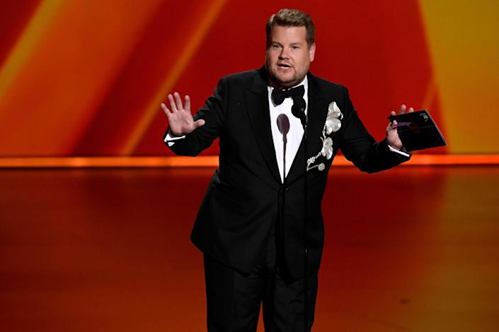 James Corden presents the award for best television movie. Xxx Emmys2019 0922182602 Jpg A Ent Usa Ca (Photo by Robert Hanashiro, USA TODAY, USA TODAY NETWORK via Imagn Content Services, LLC/USA Today Network/Sipa USA)