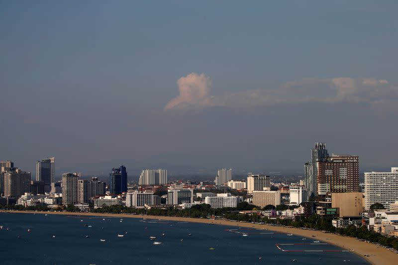 General view of a beach which usually full with tourists in Pattaya
