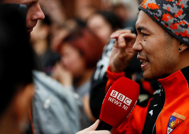 Boxing - Carl Frampton & Nonito Donaire Public Work-Outs - Victoria Square Shopping Centre, Belfast, Britain - April 19, 2018 Nonito Donaire talks to the media during the public work out Action Images via Reuters/Jason Cairnduff