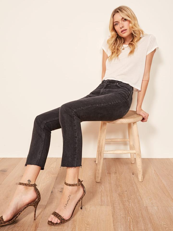 """<p>Get these <a href=""""https://www.popsugar.com/buy/Reformation-Julia-Crop-High-Cigarette-Jeans-417882?p_name=Reformation%20Julia%20Crop%20High%20Cigarette%20Jeans&retailer=thereformation.com&pid=417882&price=128&evar1=fab%3Aus&evar9=45867382&evar98=https%3A%2F%2Fwww.popsugar.com%2Ffashion%2Fphoto-gallery%2F45867382%2Fimage%2F45867396%2FReformation-Julia-Crop-High-Cigarette-Jeans&list1=shopping%2Cdenim%2Cjeans%2Cspring%2Cspring%20fashion&prop13=mobile&pdata=1"""" rel=""""nofollow"""" data-shoppable-link=""""1"""" target=""""_blank"""" class=""""ga-track"""" data-ga-category=""""Related"""" data-ga-label=""""https://www.thereformation.com/products/julia-crop-high-cigarette-jean?color=Black"""" data-ga-action=""""In-Line Links"""">Reformation Julia Crop High Cigarette Jeans</a> ($128) for a night out.</p>"""