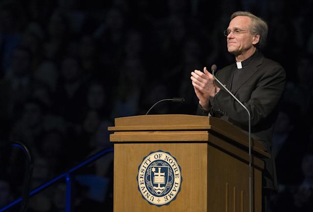 Notre Dame President Rev. John Jenkins speaks, Wednesday, March 4, 2015, in the Purcell Pavilion at the University of Notre Dame in South Bend, Ind. (Photo: South Bend Tribune, Robert Franklin, Pool/AP)