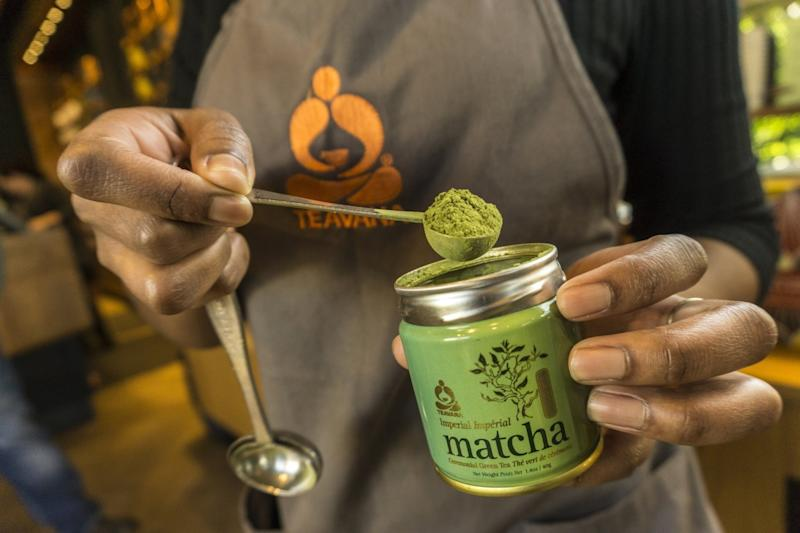 A barista prepares matcha tea at Teavana Fine Teas + Tea Bar in Beverly Hills.