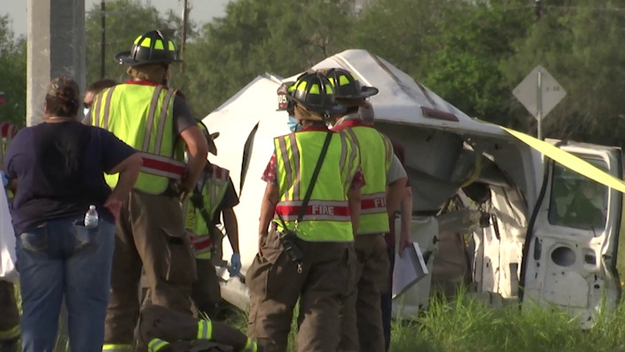 Authorities respond to the scene of the crash around 4 p.m. local time on Wednesday, August 4, 2021. / Credit: Courtesy News Nation