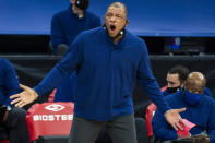 Philadelphia 76ers head coach Doc Rivers reacts to the call on the court during the first half of an NBA basketball game against the Washington Wizards, Wednesday, Jan. 6, 2021, in Philadelphia. (AP Photo/Chris Szagola)