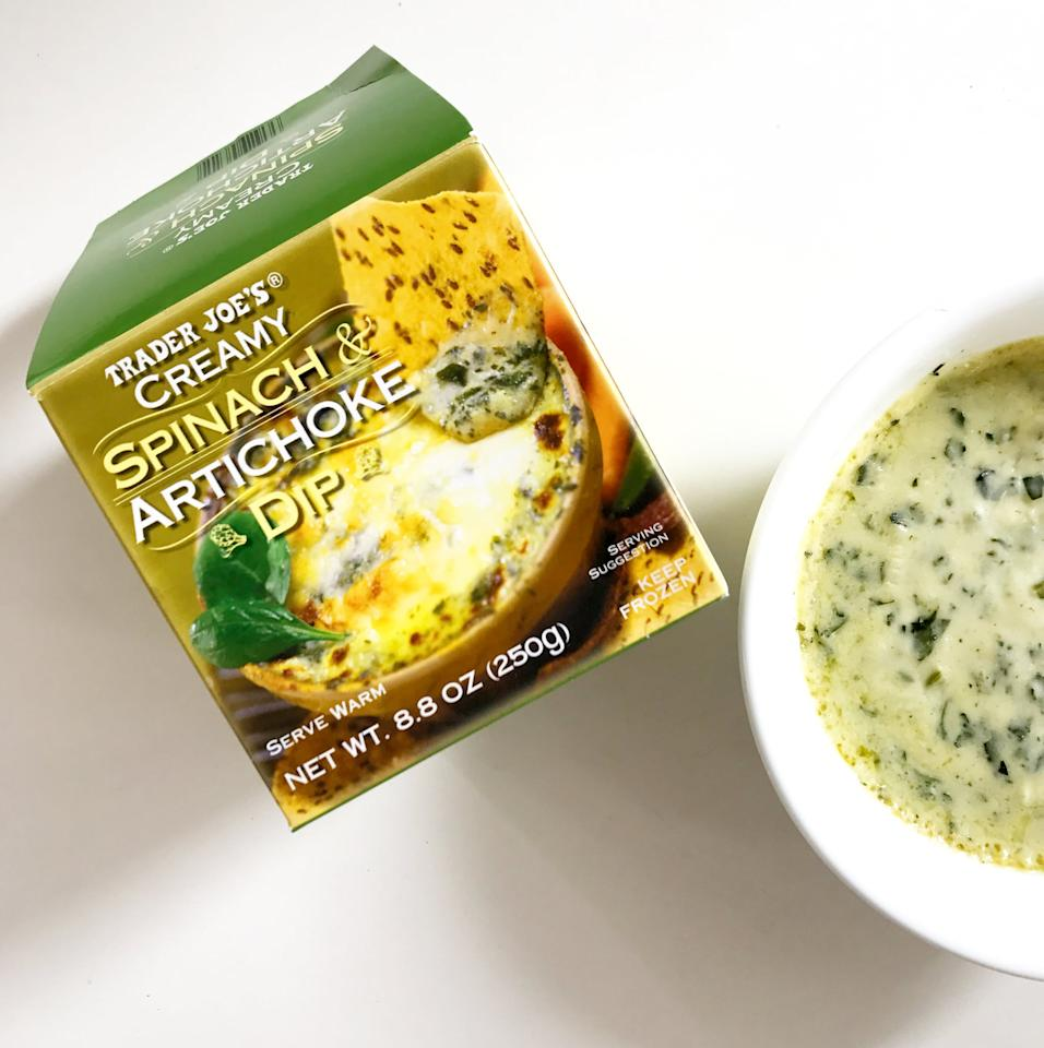 <p>I was skeptical the first time I tried this (frozen!) spinach and artichoke dip, but it totally won me over. The dip comes in a convenient package that allows you to dump the whole thing into a bowl at once, and it's the perfect serving size for a few people to finish it off. You don't run the risk of letting a half-eaten jar sit in your fridge for months. It gets warm and bubbly in mere minutes and tastes great with pita chips, crackers, or carrots.</p>