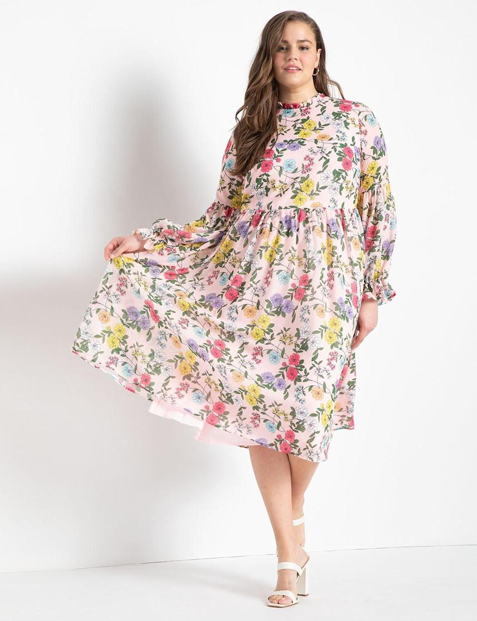 <p>This <span>Eloquii Sheer Midi Dress</span> ($140) is the epitome of springtime vibes.</p>