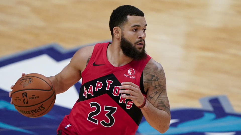 Toronto Raptors guard Fred VanVleet plays against the Charlotte Hornets during the first half of an NBA preseason basketball game in Charlotte, Monday, Dec. 14, 2020. (AP Photo/Chris Carlson)