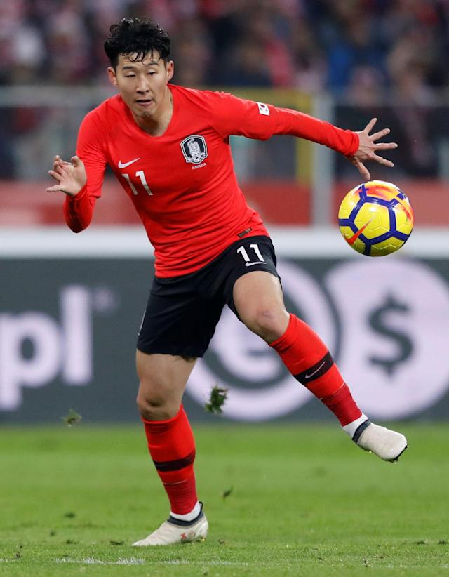 Soccer Football - International Friendly - Poland vs South Korea - Silesian Stadium, Chorzow, Poland - March 27, 2018 South Korea's Son Heung-Min in action REUTERS/Kacper Pempel